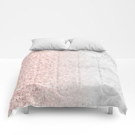 Blush Pink Sparkles on White and Gray Marble Comforters