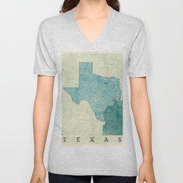 Texas State Map Blue Vintage Unisex V-Neck