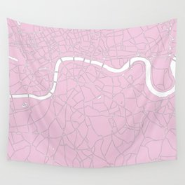 London Pink on White Street Map Wall Tapestry