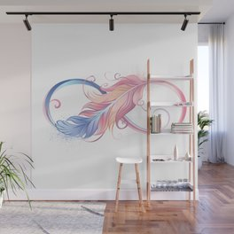 Infinity Symbol with Pink Feather Wall Mural