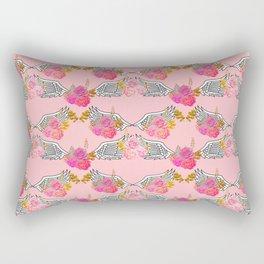 Wings and Roses Blush Pink Rectangular Pillow