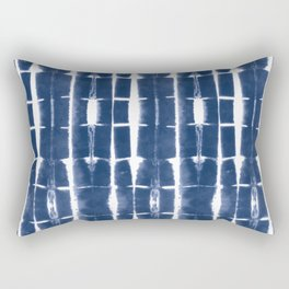 Shibori Stripes 3 Indigo Blue Rectangular Pillow