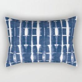 Shibori Stripes 3 Indigo Blue Rectangular Pillow
