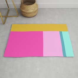Geometric Bauhaus Style Color Block in Bright Colors Rug