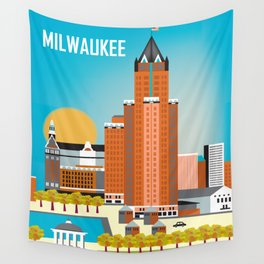 Milwaukee, Wisconsin - Skyline Illustration by Loose Petals Wall Tapestry