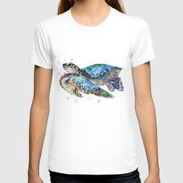 Sea Turtle, Green Blue, sea turtle under water, sky blue T-shirt