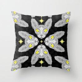 Sphynx Cat Black Pattern Throw Pillow