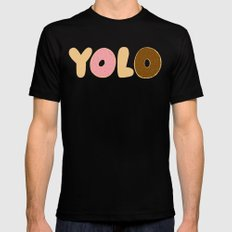 YOLO Donuts MEDIUM Black Mens Fitted Tee