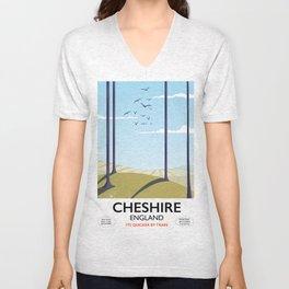 Cheshire, England travel poster Unisex V-Neck