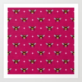 Bumblebees on Magenta Art Print