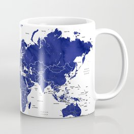 Navy blue world map with countries Coffee Mug