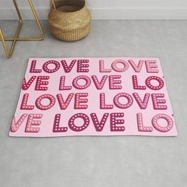 Vintage pink light bulbs LOVE letters pattern Rug