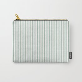 Mattress Ticking Narrow Striped Pattern in Moss Green and White Carry-All Pouch