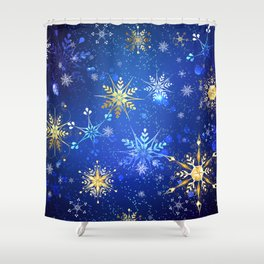 Blue background with golden snowflakes Shower Curtain