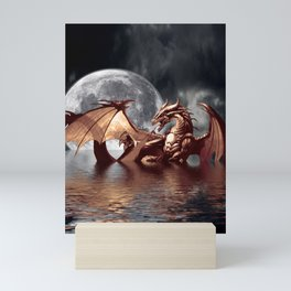 Mystical Dragon and Moon Fantasy Design Mini Art Print
