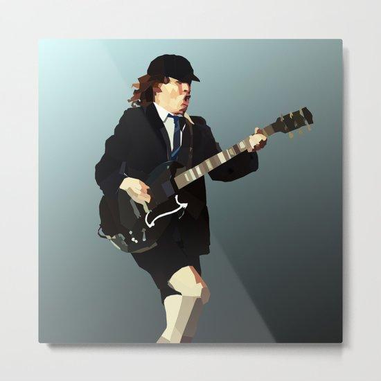 Low Polygon Portrait of Angus Young Metal Print