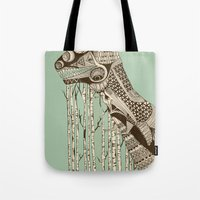dino Tote Bags featuring dino by lille-lle