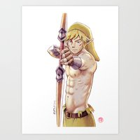 The legend of Zelda - The knight in the Wild - sexy Link Art Print