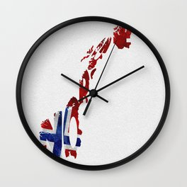 Norway / Norge Typographic Flag Map Art Wall Clock