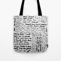 lyrics Tote Bags featuring Song Lyrics by Fallon Chase
