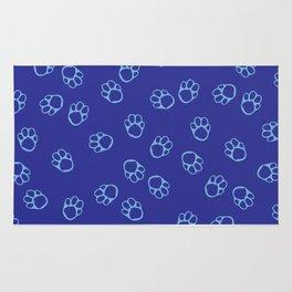 Blue Paw Print Pattern Rug