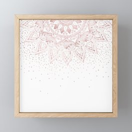 Elegant rose gold mandala confetti design Framed Mini Art Print