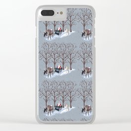 Santa in the Snow Clear iPhone Case