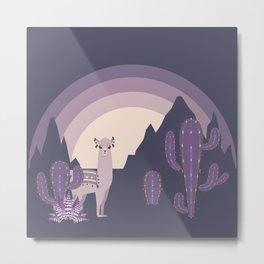 Night Llama with Cacti Metal Print