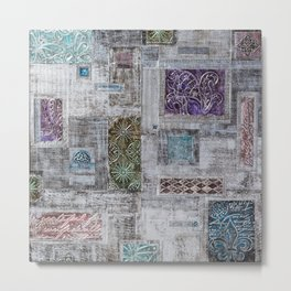 Colorful Metallic Patchwork Metal Print