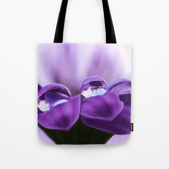 Violet flower with drops 262 Tote Bag