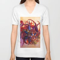 sci fi V-neck T-shirts featuring Sci-fi insect by Gaspar Avila