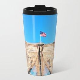 107. Middle of Brooklyn Bridge, New York Travel Mug
