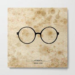 Glasses label on grunge paper. Metal Print