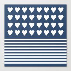Heart Stripes Navy Canvas Print