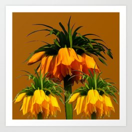 CARAMEL COLOR YELLOW CROWN IMPERIAL FLOWERS Art Print
