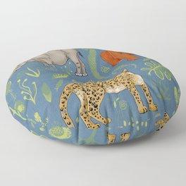 endangered animals, black rhino, amur leopard, bornean orangutan Floor Pillow