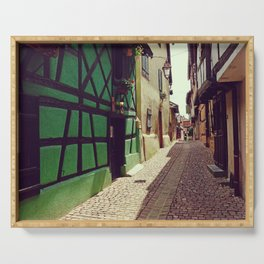 Alsatian street | Stone Pavement Alley | France Photography Serving Tray