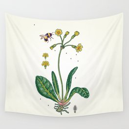 yellow cowslip and bee Wall Tapestry