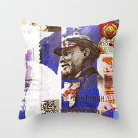 soviet Throw Pillows featuring Soviet times by LuzGraphicStudio