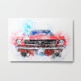 Abstract Ford Mustang Metal Print