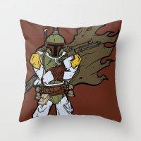 boba fett Throw Pillows featuring Boba Fett by Twisted Dredz
