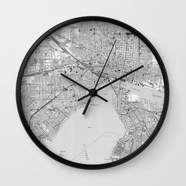 Vintage Map of Jacksonville Florida (1950) BW Wall Clock