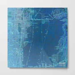 13-Miami Florida 1950, blue vintage map Metal Print