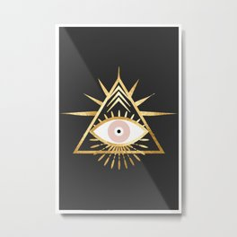 gold foil triangle evil eye Metal Print