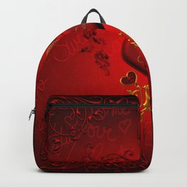 Wonderful hearts with floral elements, kisses Backpack