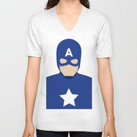 captain V-neck T-shirts featuring Captain by Mi Absurda Osadía