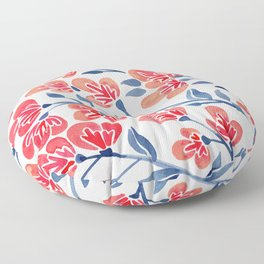 Cherry Blossoms – Melon & Navy Palette Floor Pillow
