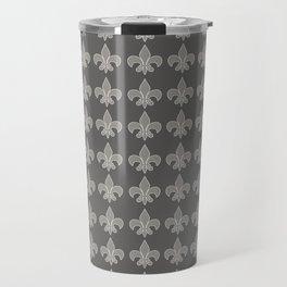 Fleur de lis gray on gray Travel Mug