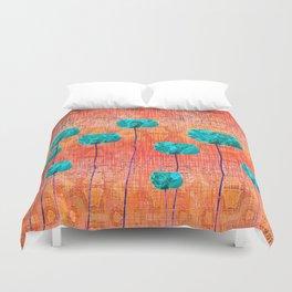 Vintage Poppy Flower Abstract Duvet Cover
