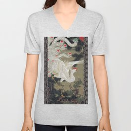 Jakuchu Phoenix with Hemp Pattern Background Unisex V-Neck